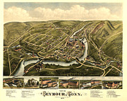 Vintage Map Digital Art Prints - Seymour Connecticut 1879 Print by Donna Leach