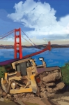 San Francisco Bay Painting Framed Prints - SF and D9 Framed Print by Brad Burns