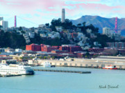 Bay Area Mixed Media - SF Harbor to Coit tower by Nick Diemel