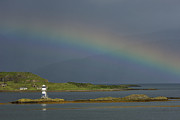 E.u. Prints - Sgeir Bhuidhe Lighthouse Rainbow - D002481 Print by Daniel Dempster