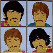 Ceramic Mixed Media - Sgt Pepper cartoon by Frett Campbell
