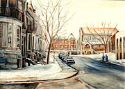 French Cities Paintings - Shaar Hashomayim Westmount Montreal  by Carole Spandau