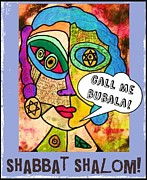 Invitations Paintings - Shabbat Shalom by Sandra Silberzweig