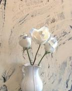 Still Life With Pitcher Art - Shabbi Chic Roses by Marsha Heiken