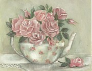 Teapot Paintings - Shabby teapot rose painting by Chris Hobel