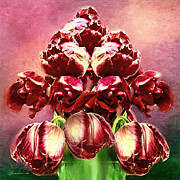 Red Mixed Media - Shabby Tulips by Zeana Romanovna