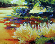 Impressionistic Landscape Painting Posters - Shade at Smith Rock Poster by Melody Cleary