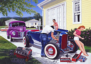 Adult Male Posters - Shade Tree Mechanic Poster by Bruce Kaiser