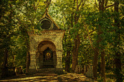 Shaded Chapel. Golden Green Series Print by Jenny Rainbow