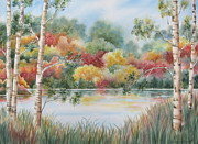 Birch Trees Paintings - Shades of Autumn by Deborah Ronglien