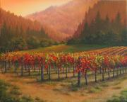 Napa Valley Vineyard Paintings - Shades of Autumn by Patrick ORourke