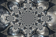Kaleidoscope Metal Prints - Shades Of Grey 2 Metal Print by Heidi Smith