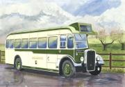 Buses Pastels Prints - Shades of Lincoln Green Print by John Kinsley