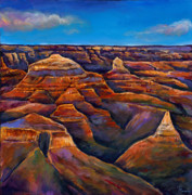 Contemporary Acrylic Painting Framed Prints - Shadow Canyon Framed Print by Johnathan Harris