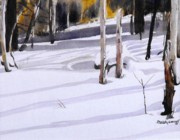 Snow Scene Painting Originals - Shadow Dancing by David Ackerson