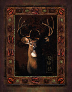 Hunting Cabin Metal Prints - Shadow deer Metal Print by JQ Licensing