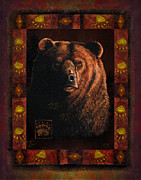 Hunting Cabin Metal Prints - Shadow Grizzly Metal Print by JQ Licensing