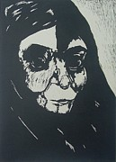 Linocut Drawings Originals - Shadow by Nesli Sisli