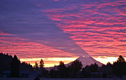 Fiery Red Prints - Shadow of Mount Rainier Print by Sean Griffin