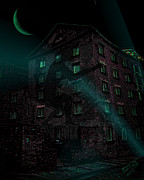 Haunted House Digital Art Metal Prints - Shadow on the Wall Metal Print by Mimulux patricia no  