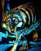 Paws Painting Originals - Shadow Stalker by Shanna Stott