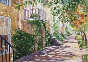 Savannah Street Scenes Framed Prints - Shadow Walk Framed Print by Durinda Cheek