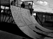 Welsh Artist Prints - Shadows-15D-Shadows on the skateboard ramp-01 Print by Pat Bullen-Whatling