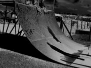 Welsh Artist Prints - Shadows-16B-Shadows on the skateboard ramp-02 Print by Pat Bullen-Whatling