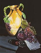 Grapes Paintings - Shadows and Wine by Carol Sweetwood