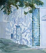 Stucco Paintings - Shadows Glass and Leaves by Jenny Armitage