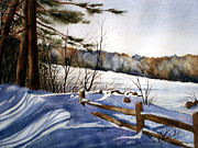 Snow Covered Pine Trees Paintings - Shadows of Winter by Daydre Hamilton