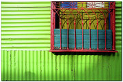 Buenos Aires Framed Prints - Shadows On A Colorful Window Framed Print by by Felicitas Molina