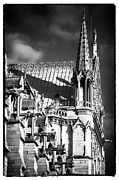 French Gothic Architecture Posters - Shadows on Notre Dame Poster by John Rizzuto