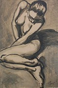 Sepia Ink Drawings - Shadows On the Sand1 - Nudes Gallery by Carmen Tyrrell