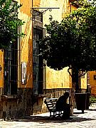 Tlaquepaque Prints - Shady Bench Print by Olden Mexico