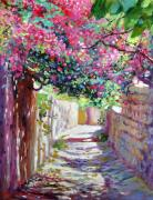 Europe Painting Acrylic Prints - Shady Lane Greece Acrylic Print by David Lloyd Glover