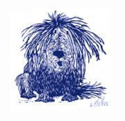 Puppies Drawings Framed Prints - Shaggy Framed Print by Barry Nelles Art