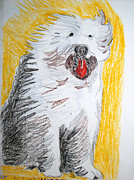 Oils Pastels - Shaggy Dog by De Beall