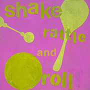 Baby Room Posters - Shake Rattle And Roll Baby Poster by Laurie Breen