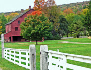 Red Barn. New England Digital Art Prints - Shaker Farm in Autumn 3 Print by Steve Ohlsen
