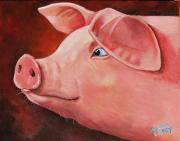Pig Posters - Shakespear Poster by Laura Carey