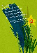 Calligraphy Drawings Prints - Shakespeare Daffodil Print by Tamara Stoneburner