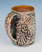 Incised Ceramics - Shakespearian Mug by Patty Sheppard