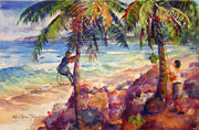 Puerto Rico Paintings - Shaking down coconuts by Estela Robles