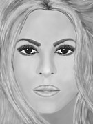 Shakira Digital Art - Shakira Black and white by Mathieu Lalonde