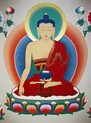 Thangka Paintings - Shakyamuni Buddha  by Sergey Noskov