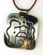 Tucson Arizona Jewelry Originals - Shaman Ancestral Spirit Necklace - Fine Silver by Esprit Mystique