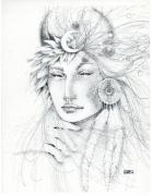 Fortune Teller Drawings Framed Prints - Shaman Framed Print by Christine Winters