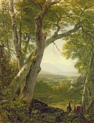 Tree Leaf Painting Prints - Shandaken Ridge - Kingston Print by Asher Brown Durand