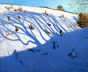 Sledging Prints - Shandows on a hill Monyash Print by Andrew Macara